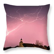 Lightning Bolts Over Spring Valley Country Church Throw Pillow