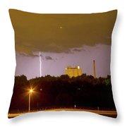 Lightning Bolts Striking In Loveland Colorado Throw Pillow