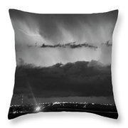 Lightning Cloud Burst Black And White Throw Pillow