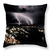 Lightning During A Thunderstorm On The Island Of Santorini, Greece Throw Pillow