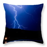 Lightning Fork In The Hills Throw Pillow