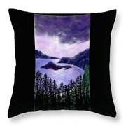 Lightning In Purple Clouds Throw Pillow
