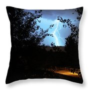 Lightning On The Distant Mountains Throw Pillow