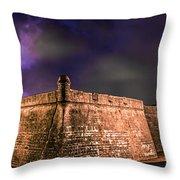 Lightning Over Castillo De San Marcos National Monument Throw Pillow