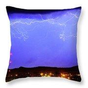 Lightning Over Loveland Colorado Foothills Panorama Throw Pillow