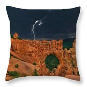 Lightning Over Natural Bridge Formation Bryce Canyon National Park Utah Throw Pillow by Dave Welling