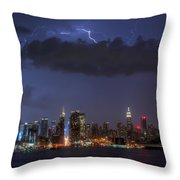Lightning Over New York City I Throw Pillow by Clarence Holmes
