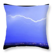 Lightning Over North Boulder Colorado  Poster Sp Throw Pillow