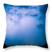 Lightning Rainbow Blues Throw Pillow
