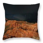 Lightning Rainbow Over Hoodoos Bryce Canyon National Park Utah Throw Pillow