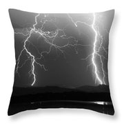 Lightning Storm 08.05.09 Bw Throw Pillow