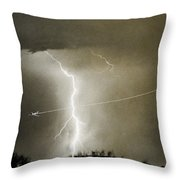 Lightning Storm City Lights Jet Airplane Fine Art Photography Throw Pillow