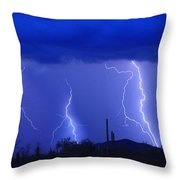 Lightning Storm In The Desert Fine Art Photography Print Throw Pillow
