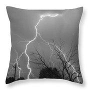 Lightning Storm On 17th Street Bw Fine Art Print Throw Pillow