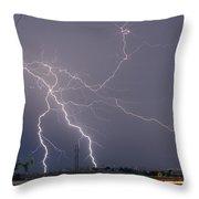 Lightning Storm  Power Lines Car Trails Throw Pillow