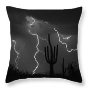 Lightning Storm Saguaro Fine Art Bw Photography Throw Pillow