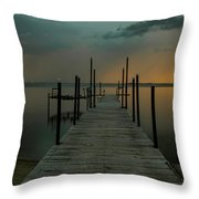 Lightning Strikes Across The Water Throw Pillow