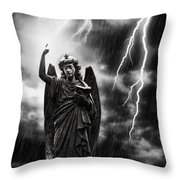 Lightning Strikes The Angel Gabriel Throw Pillow by Amanda Elwell