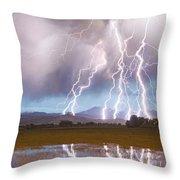 Lightning Striking Longs Peak Foothills 4 Throw Pillow