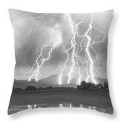 Lightning Striking Longs Peak Foothills 4cbw Throw Pillow