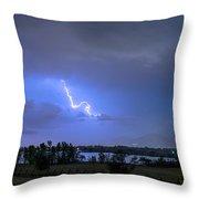 Lightning Striking Over Boulder Reservoir Throw Pillow