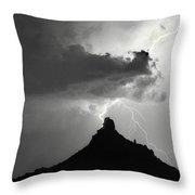 Lightning Striking Pinnacle Peak Arizona Throw Pillow