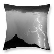Lightning Thunderstorm At Pinnacle Peak Bw Throw Pillow
