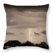 Lightning Thunderstorm July 12 2011 Strikes Over The City Sepia Throw Pillow