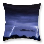 Lightning Thunderstorm July 12 2011 Two Strikes Over The City Throw Pillow