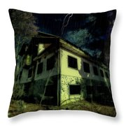 Lightnings On Abandoned Hotel On Liguria Mountains High Way - Fulmini Su Hotel Abbandonato Sull'av Throw Pillow