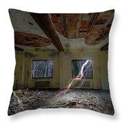 Lightnings On The Abandoned Hotel Of Liguria Mountains - Fulmini Su Hotel Abbandonato Sull'av Throw Pillow