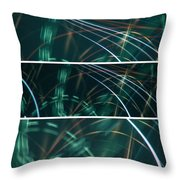 Green Film Grain Lightpainting Abstract Throw Pillow