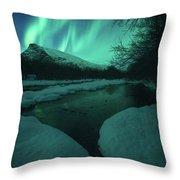 Lights Above Kjellerkampen Throw Pillow