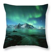 Lights Above Lofoten Throw Pillow