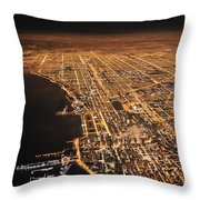 Lights Of Chicago Burn Brightly Throw Pillow