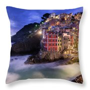 Lights Of Riomaggiore Throw Pillow