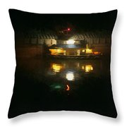 Lights On Dark Water The Mississippi Throw Pillow