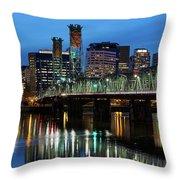 Ligth Trails On Hawthorne Bridge At Blue Hour Throw Pillow