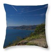 Liguria Paradise Gulf Panorama With Yellow Flowers Throw Pillow