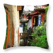 Lijiang Back Canal Throw Pillow