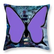 Lila Papillon Throw Pillow