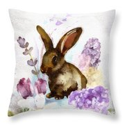 Lilac And Bunny Throw Pillow