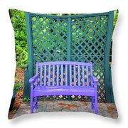 Lilac And Teal Garden Throw Pillow