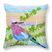 Lilac Breasted Roller In Thorn Tree Throw Pillow