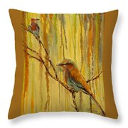 Lilac Breasted Rollers,birds Throw Pillow