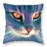 Lilac Cat Throw Pillow