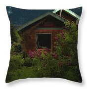 Lilac Cottage By Moonlight Throw Pillow