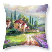 Lilac Fields In The Italian Countryside   Throw Pillow