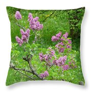 Lilac In The Spring Meadow Throw Pillow