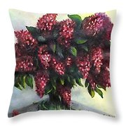 Lilac Original Flower Painting Throw Pillow